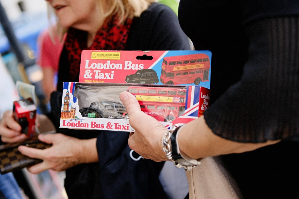 red London Bus & Tax toy in box