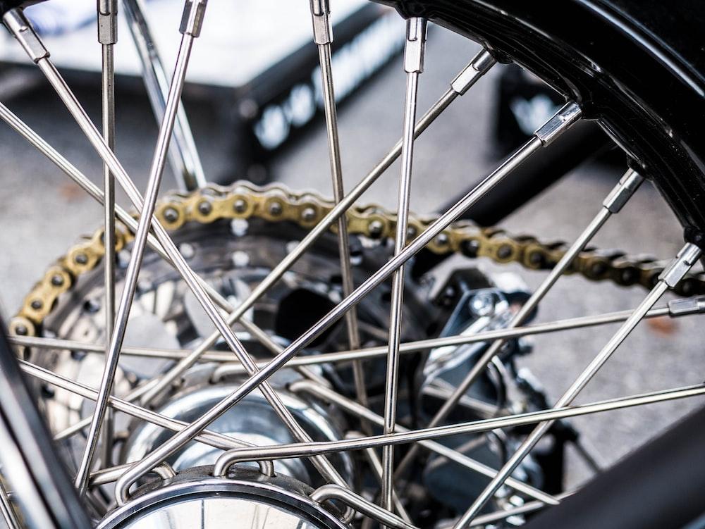 silver motorcycle wheel