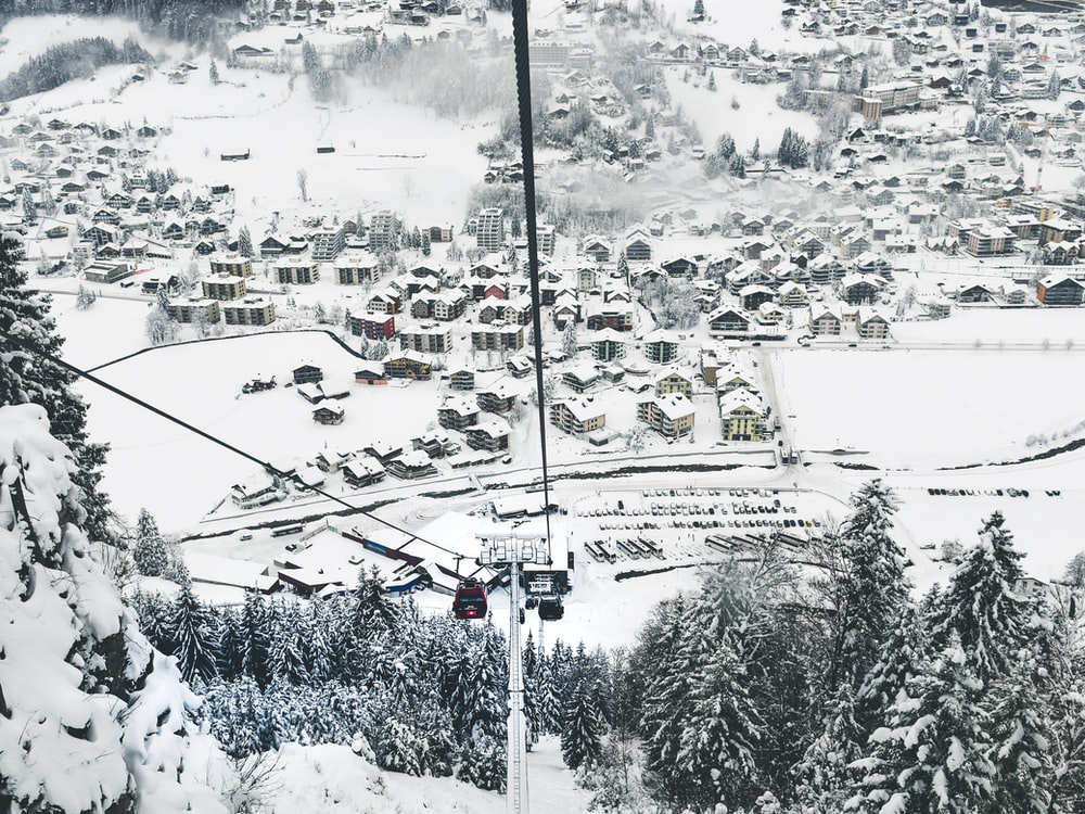 cable cart on on cables during a winter season