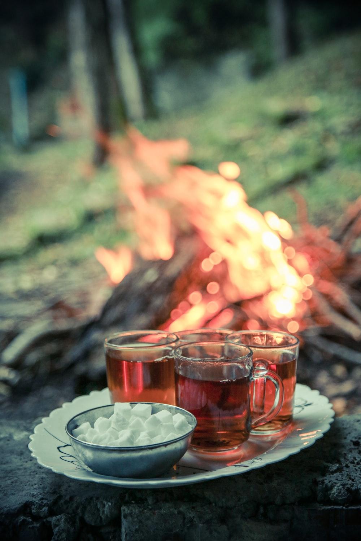 liquid in clear glass mugs near sugar cubes in bowl beside bonfire