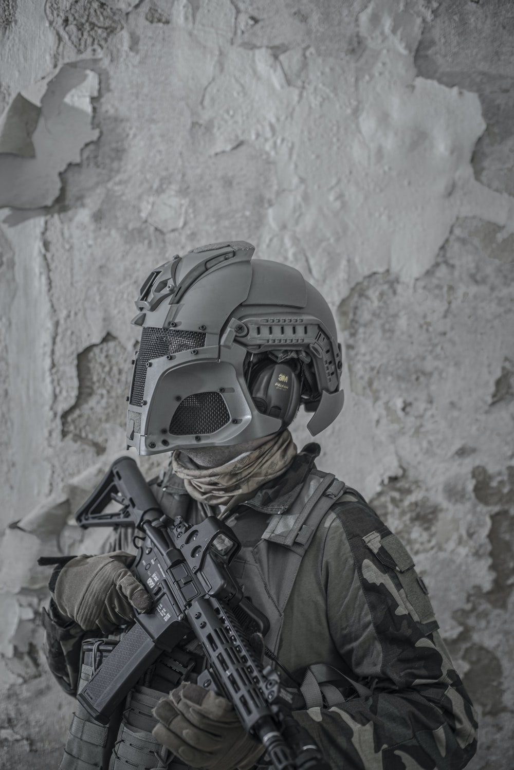 grayscale photography of soldier