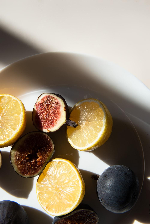 sliced fruits on plate