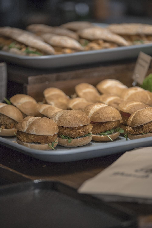 hamburgers on tray