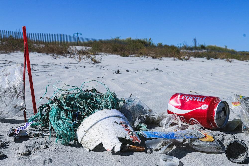 garbage on seashore