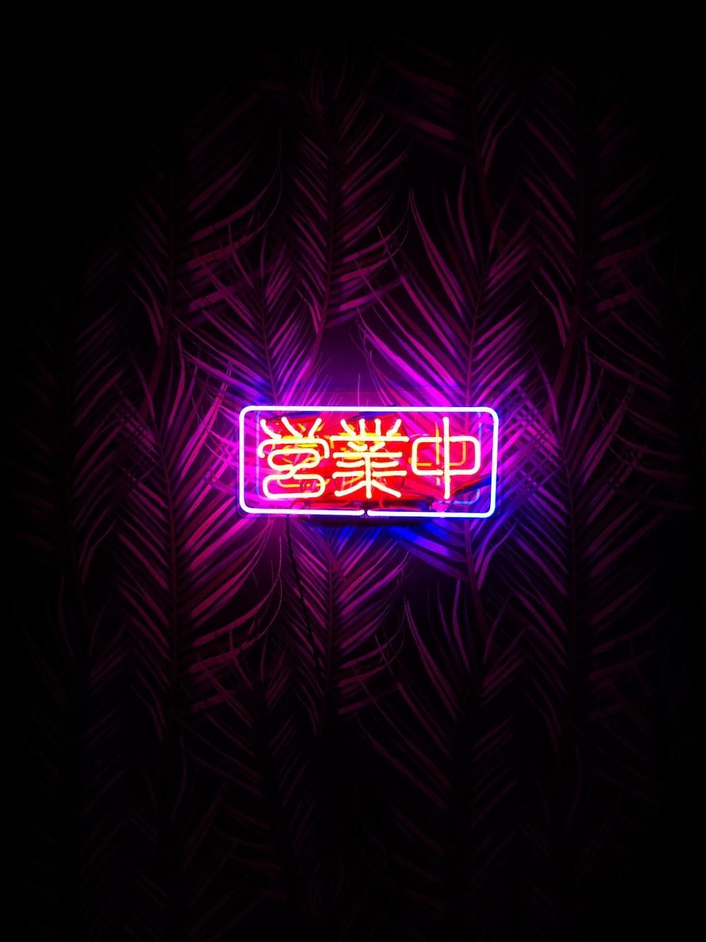 kanji script neon signage