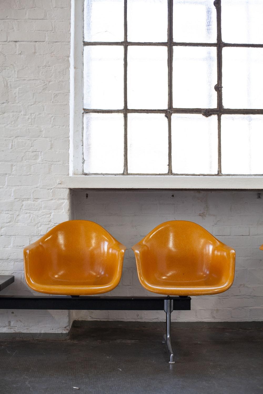 two orange chairs