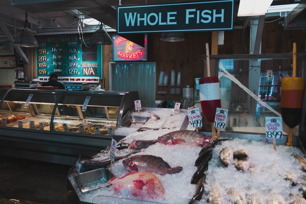 assorted type of fish on display with ice in store