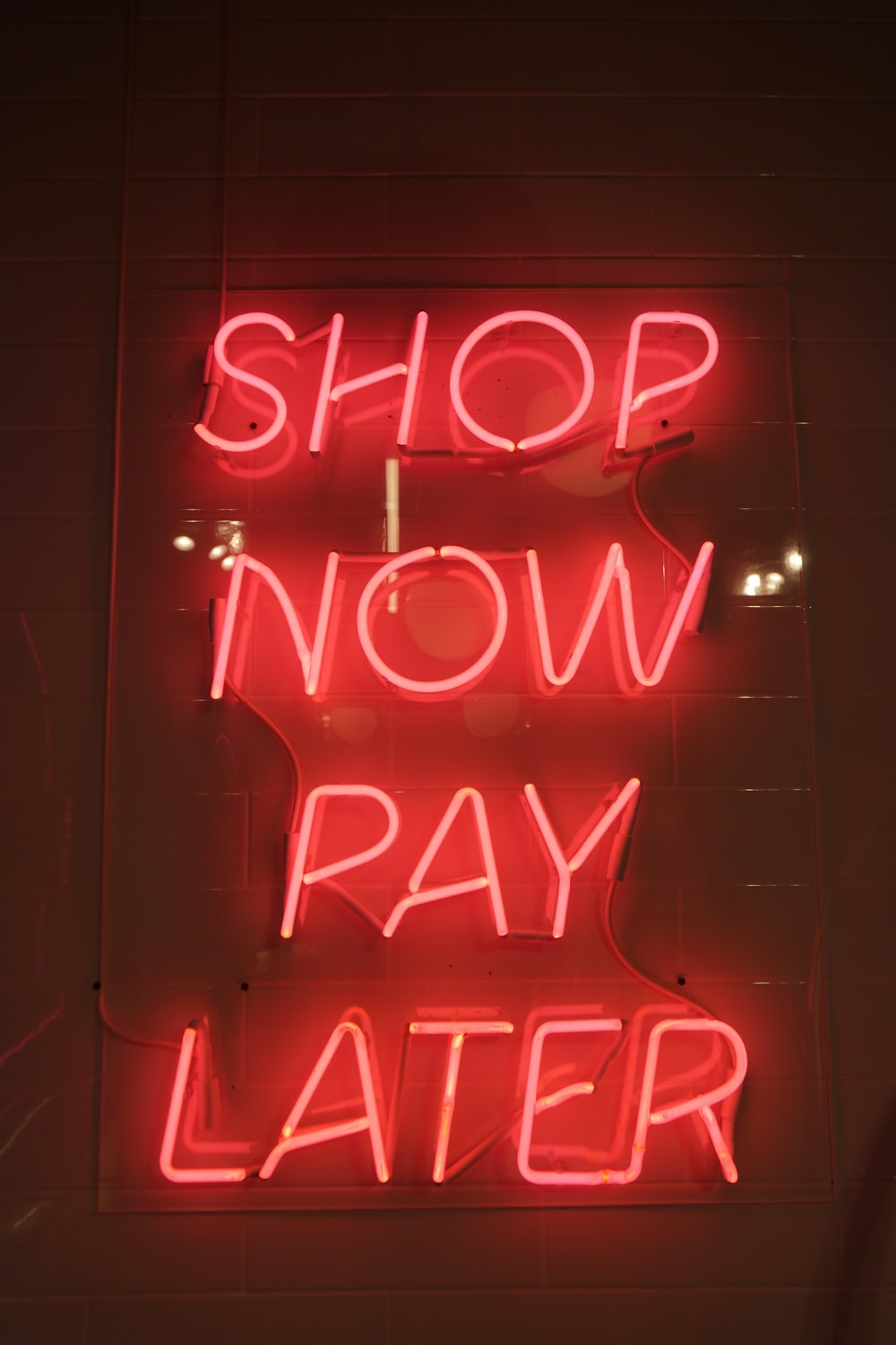 shop now pay later neon signage