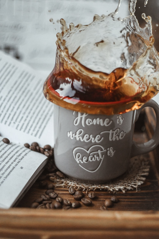 coffee splash from ceramic mug