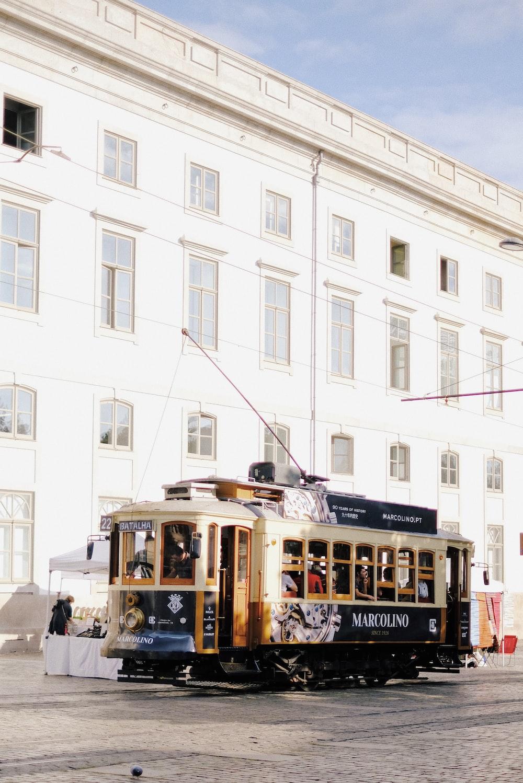 white and black tram