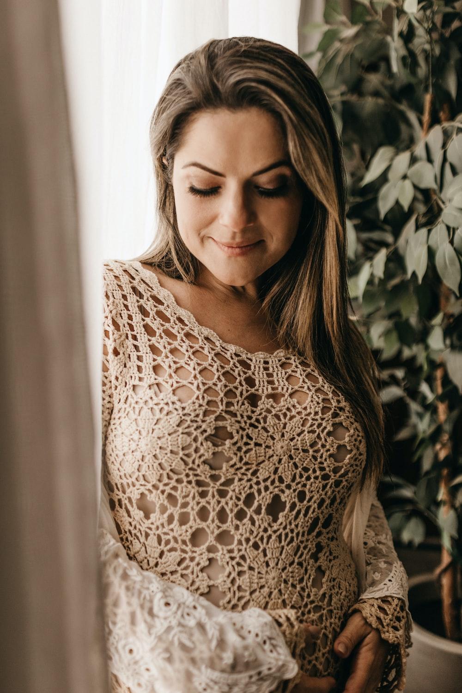 woman in brown sweater