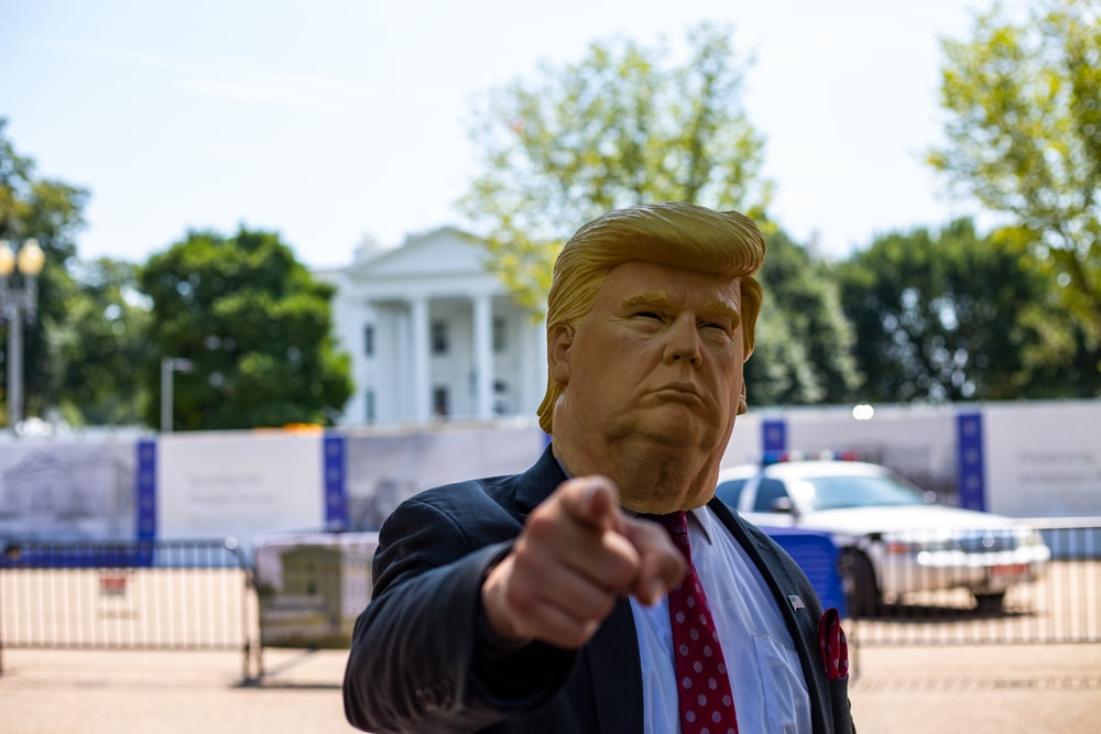 man wearing Donald Trump mask standing in front of White House