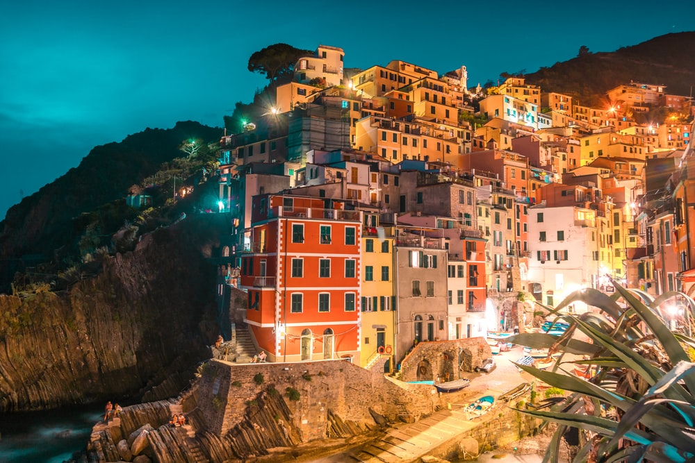 multicolored houses on cliff