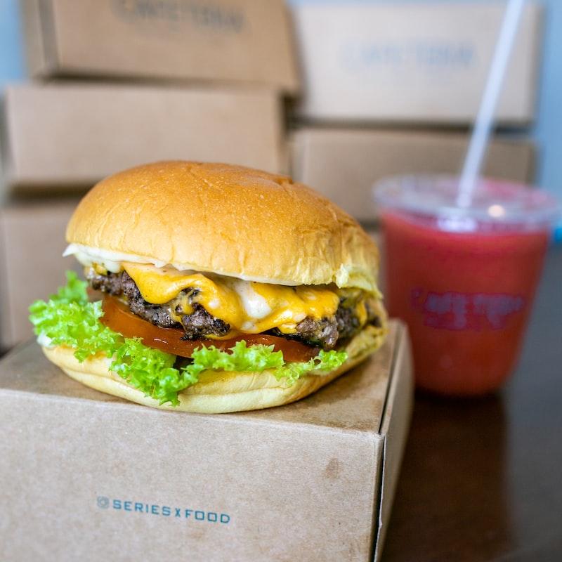 cheese burger on box