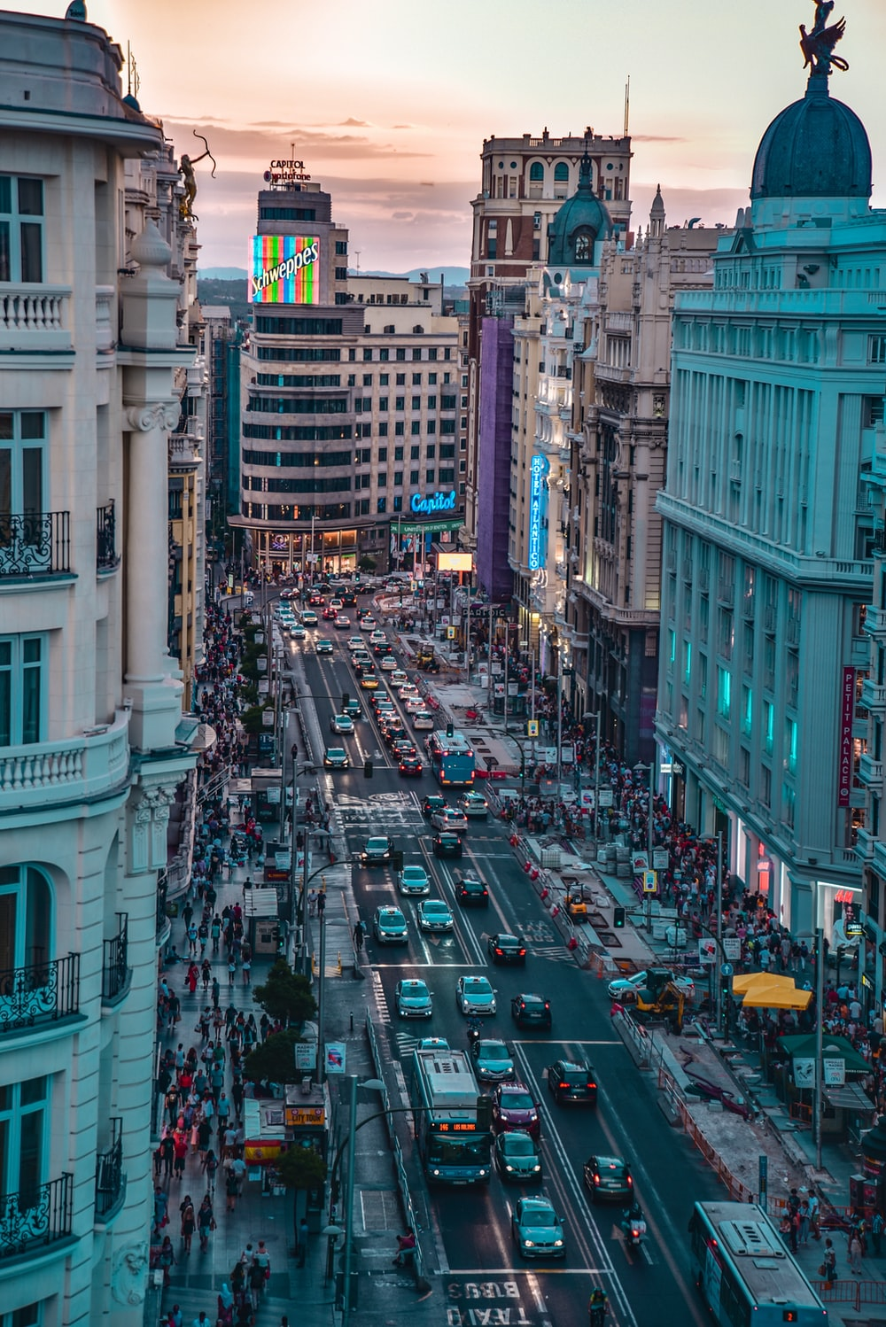 Sunset View Of Gran Via In Madrid Photo By Florian Wehde