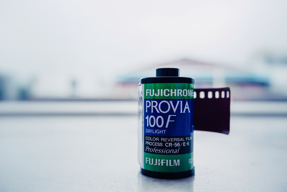 Provia film on gray surface