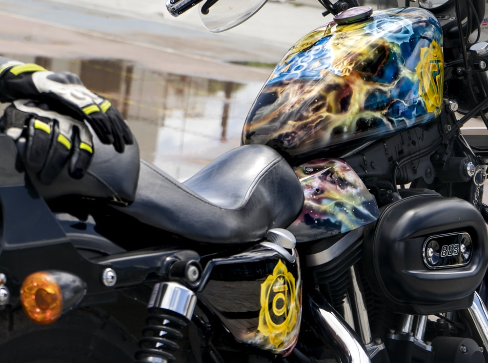 black and multicolored motorcycle