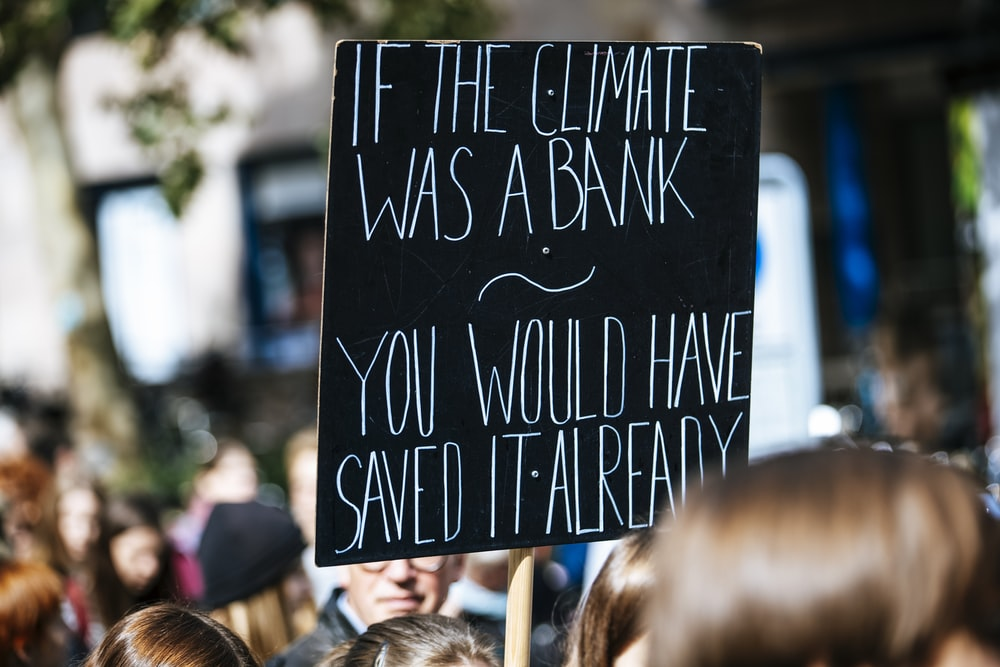 people gathered near buildings holding if the climate was a bank you would have saved it already placard