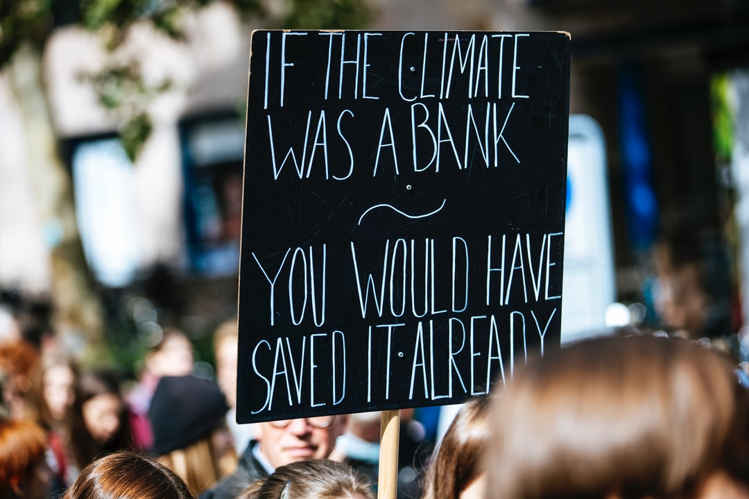 IF THE CLIMATE WAS A BANK YOU WOULD HAVE SAVED IT ALREADY. Global climate change strike protest demonstration - No Planet B - 09-20-2019