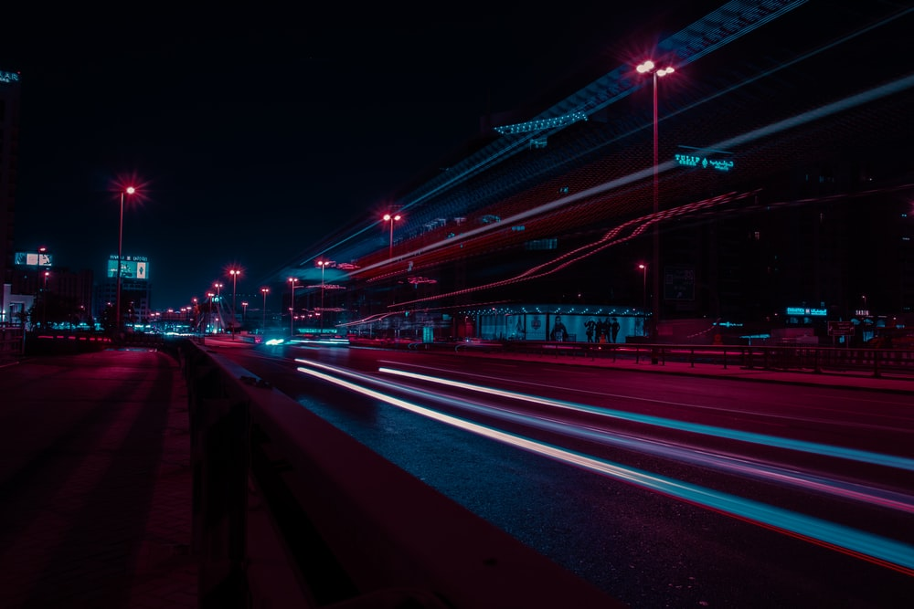 concrete road at nighttime in timelapse photo