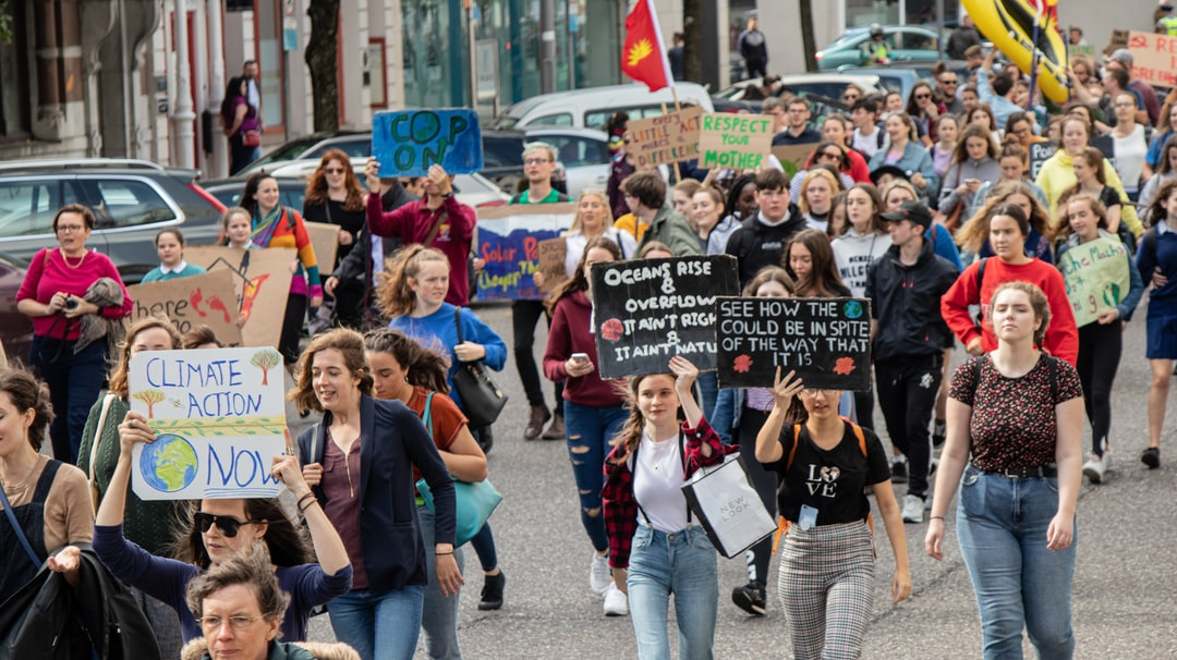 Picture of people rallying for climate change in Cork