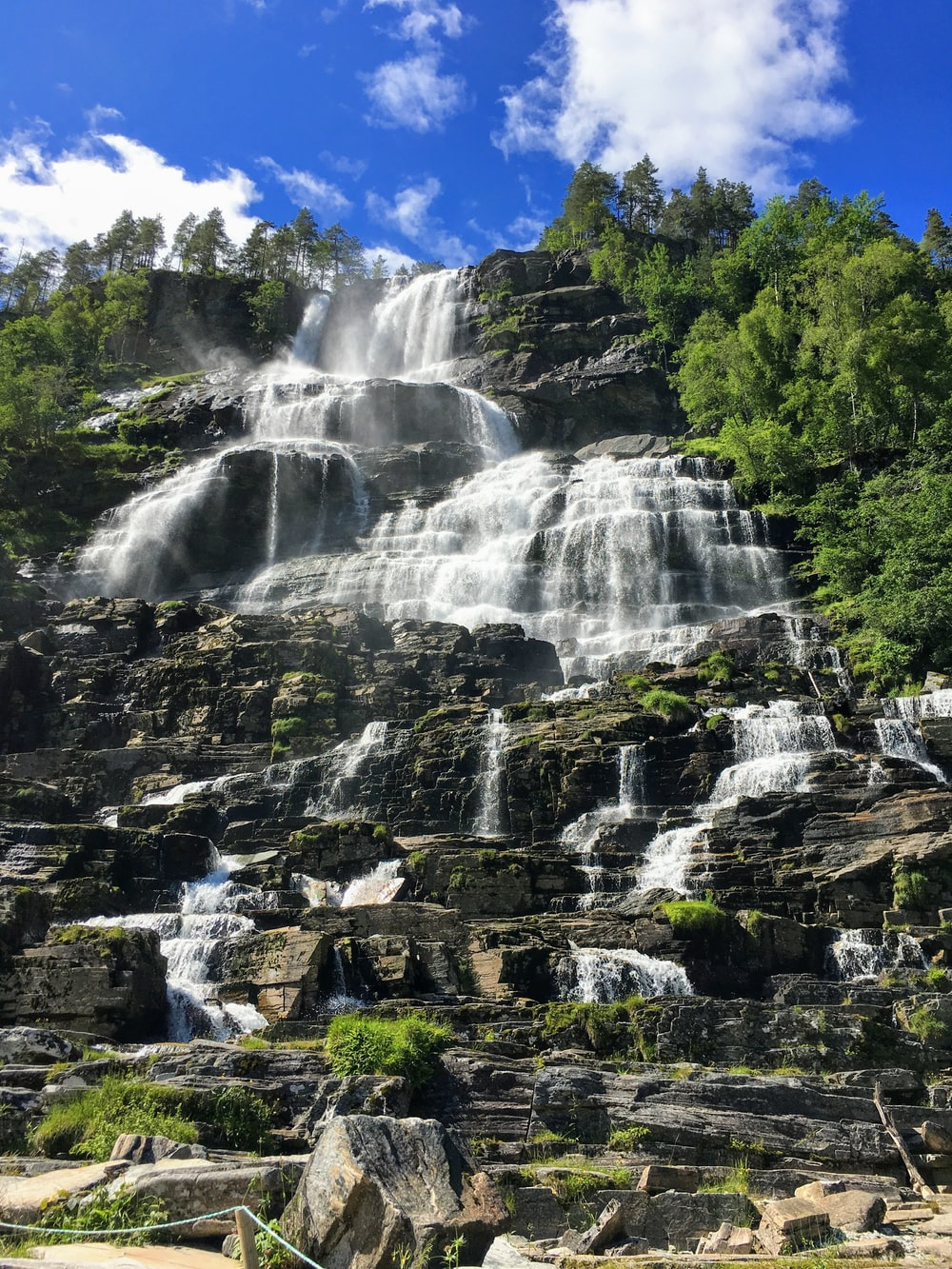 waterfalls cascading during daytime