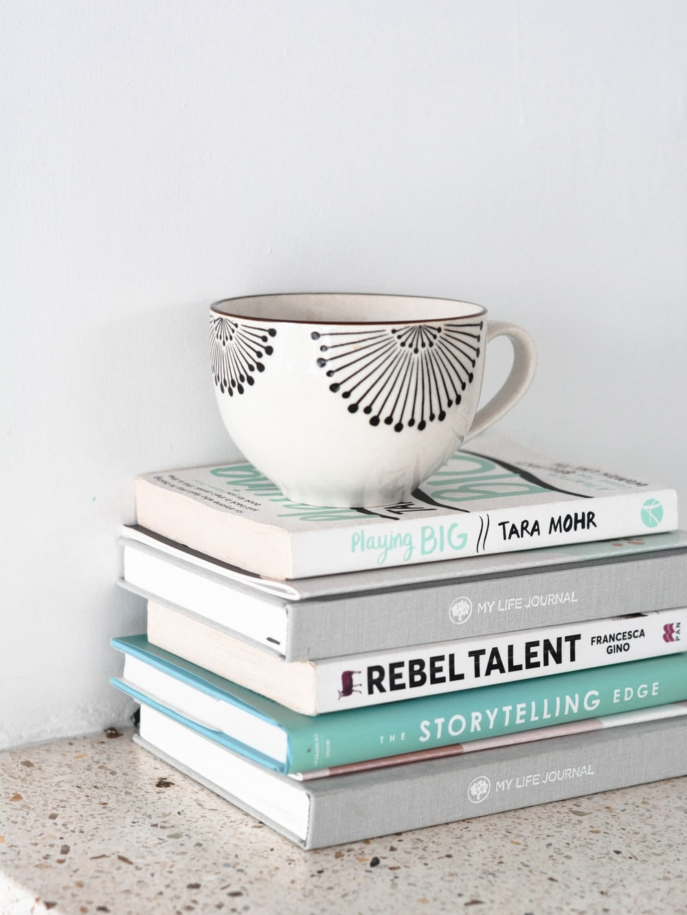 a teacup on top of stacked books