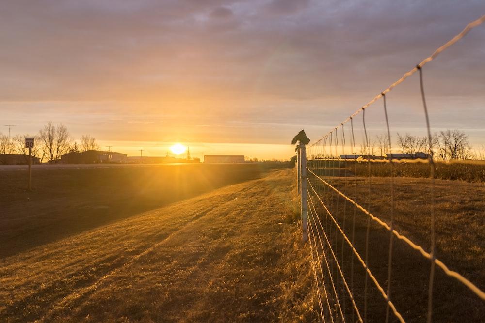 fence beside road