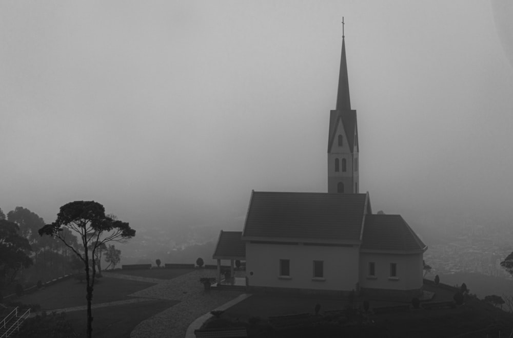 grayscale photography of a cathedral
