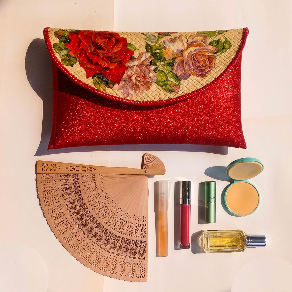 flat-lay photography of cosmetic kit
