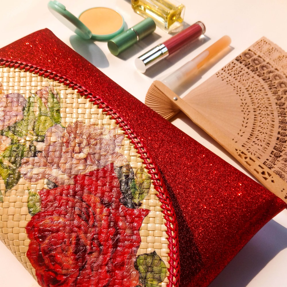 red and brown floral wallet