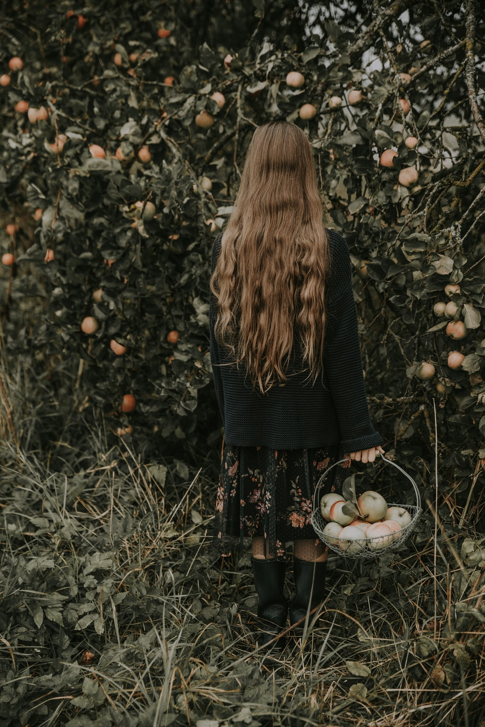 girl carrying a basket of fruits