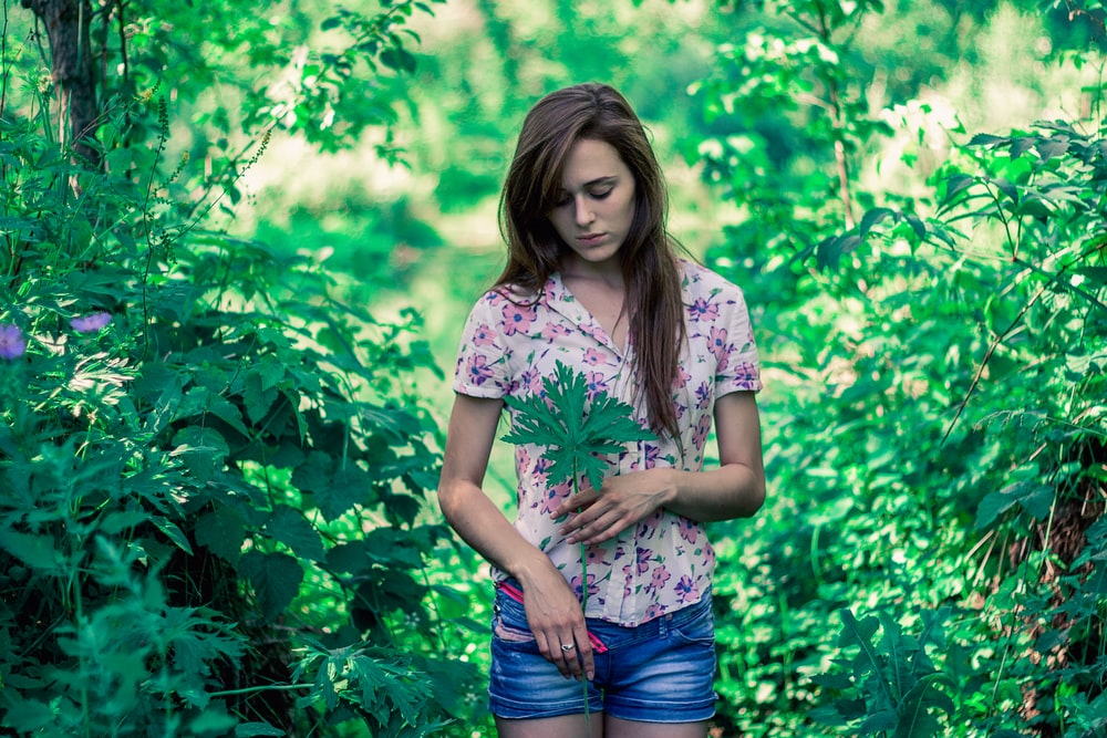 woman holding green leaf while standing surrounded with tall and green trees