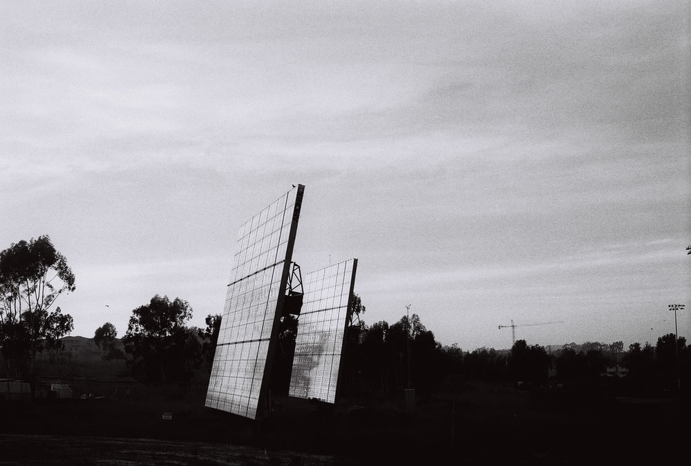 grayscale photo of solar panels