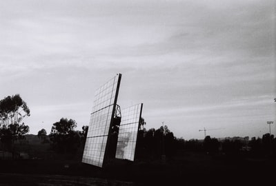 grayscale photo of solar panels muted zoom background