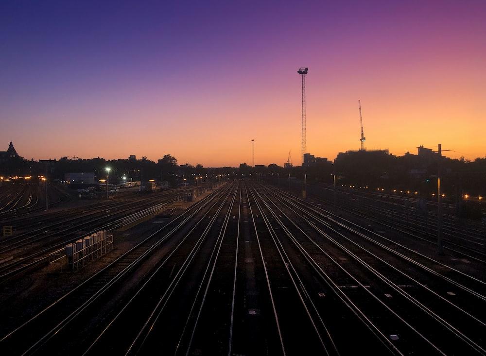 railroads during golden hour