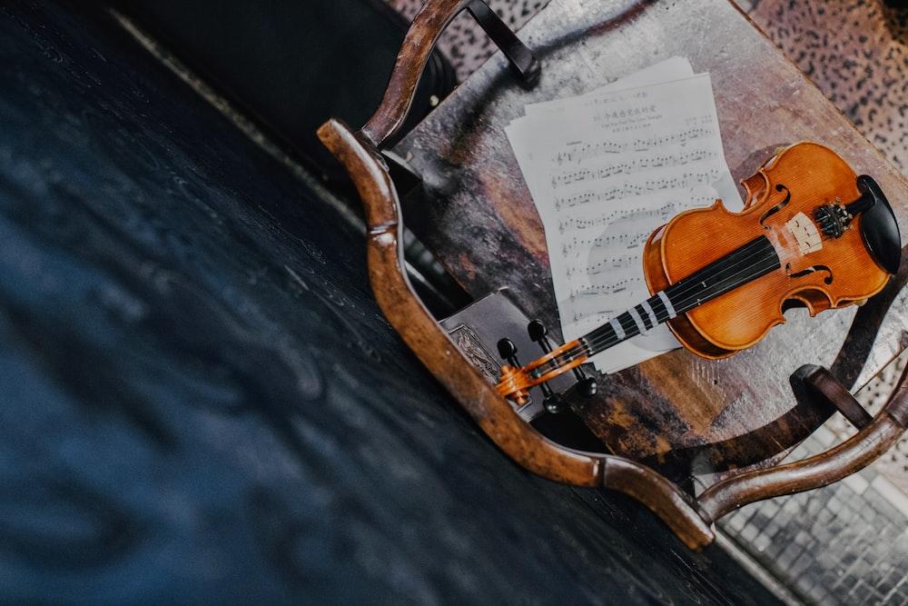 brown violin on paper