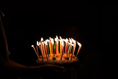 lighted candles on cake birthday teams background