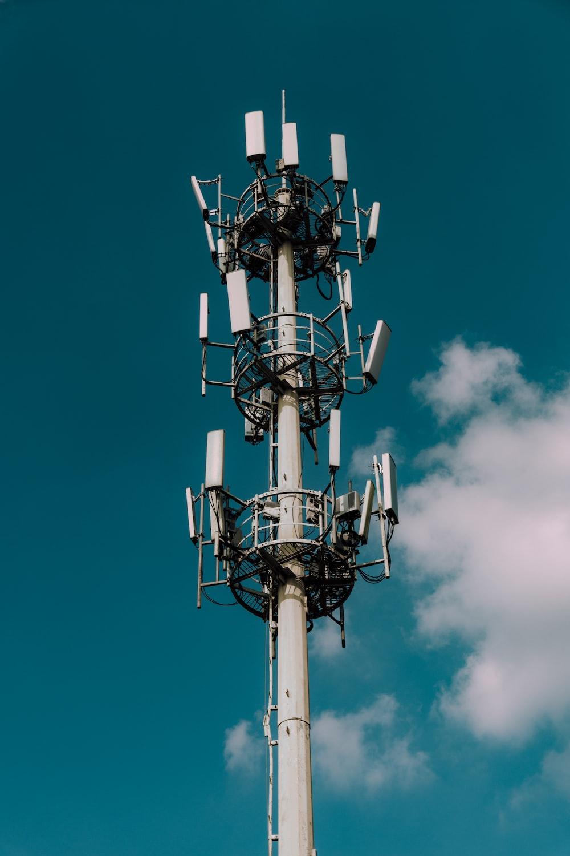 white metal transmission tower