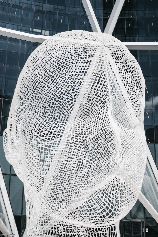 white mesh human face statue