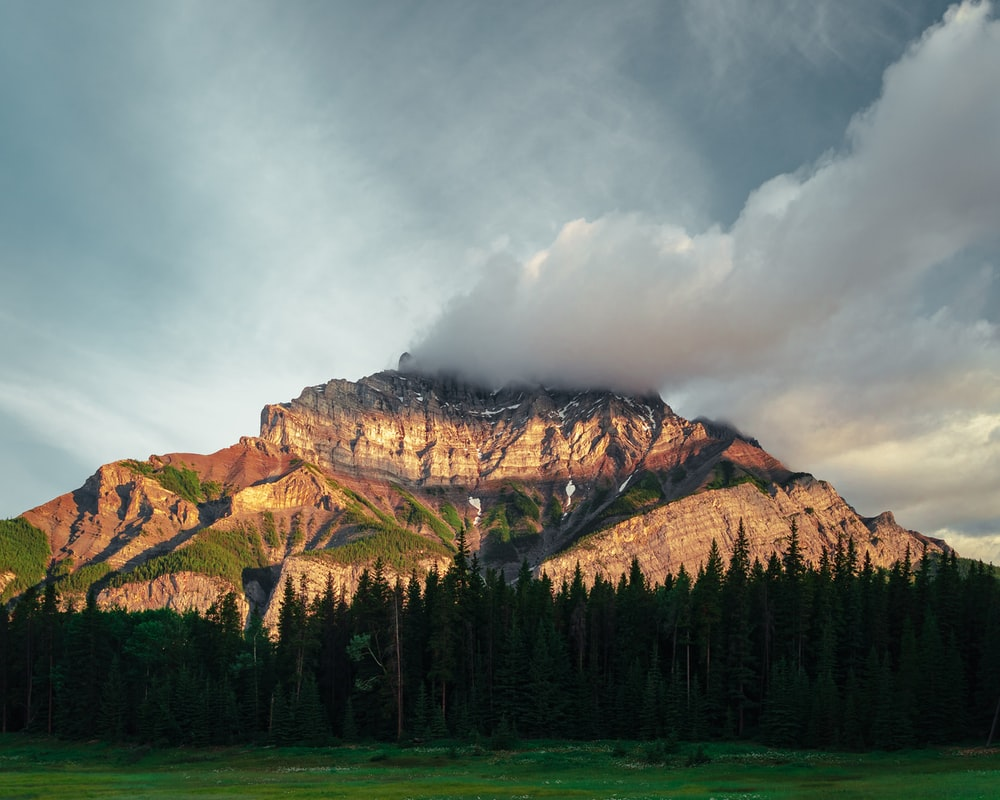 landscape photography of brown and green mountain