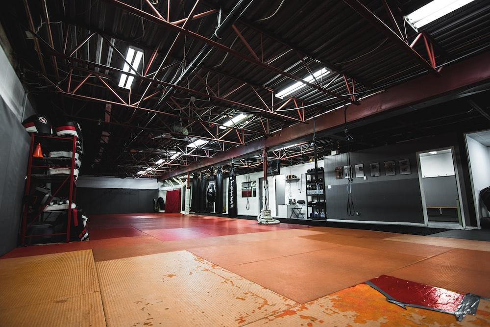 red metal ceiling frame
