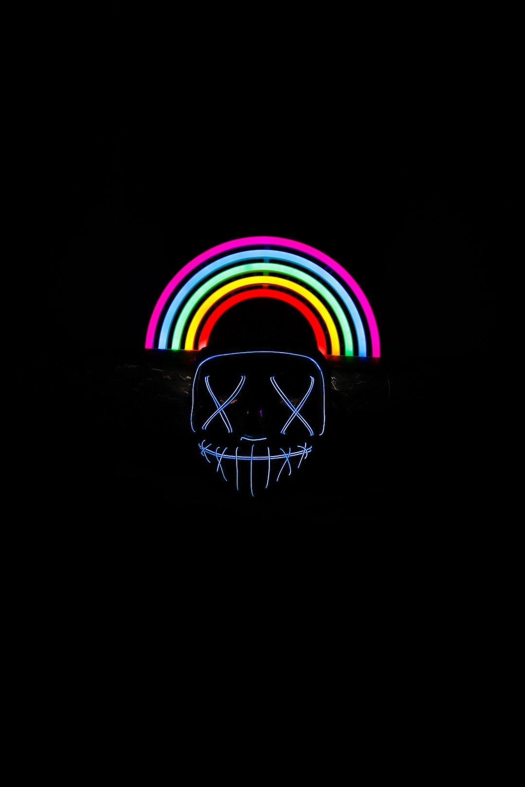 Halloween Purge Neon LED Mask and Neon Rainbow