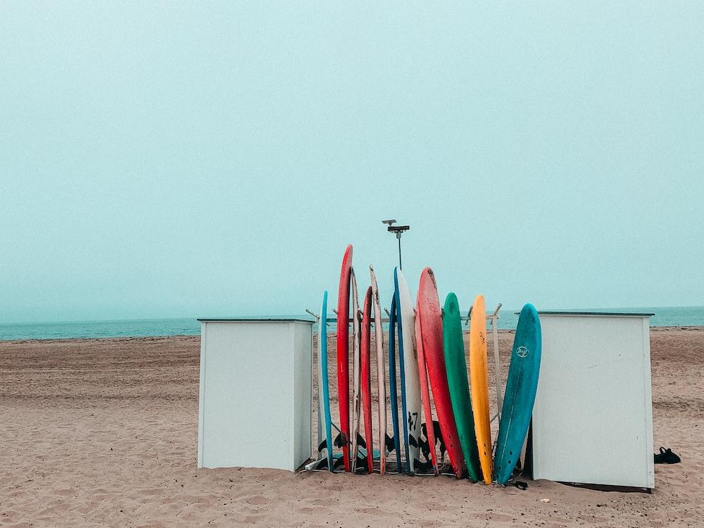 surfboards on seashore