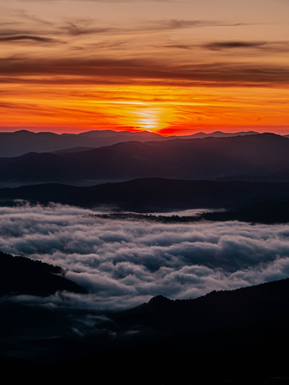 aerial photography of mountain during sunset