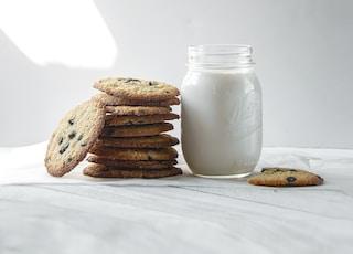 cookies beside milk jar