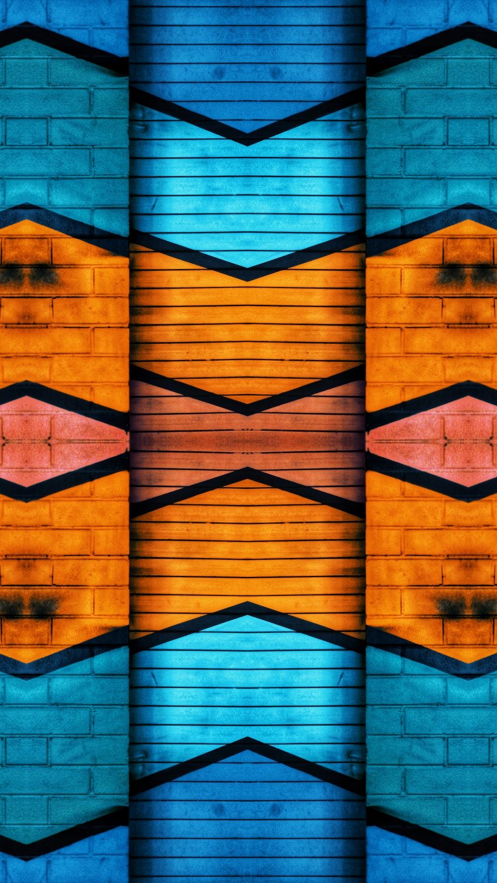 blue and orange brick wall