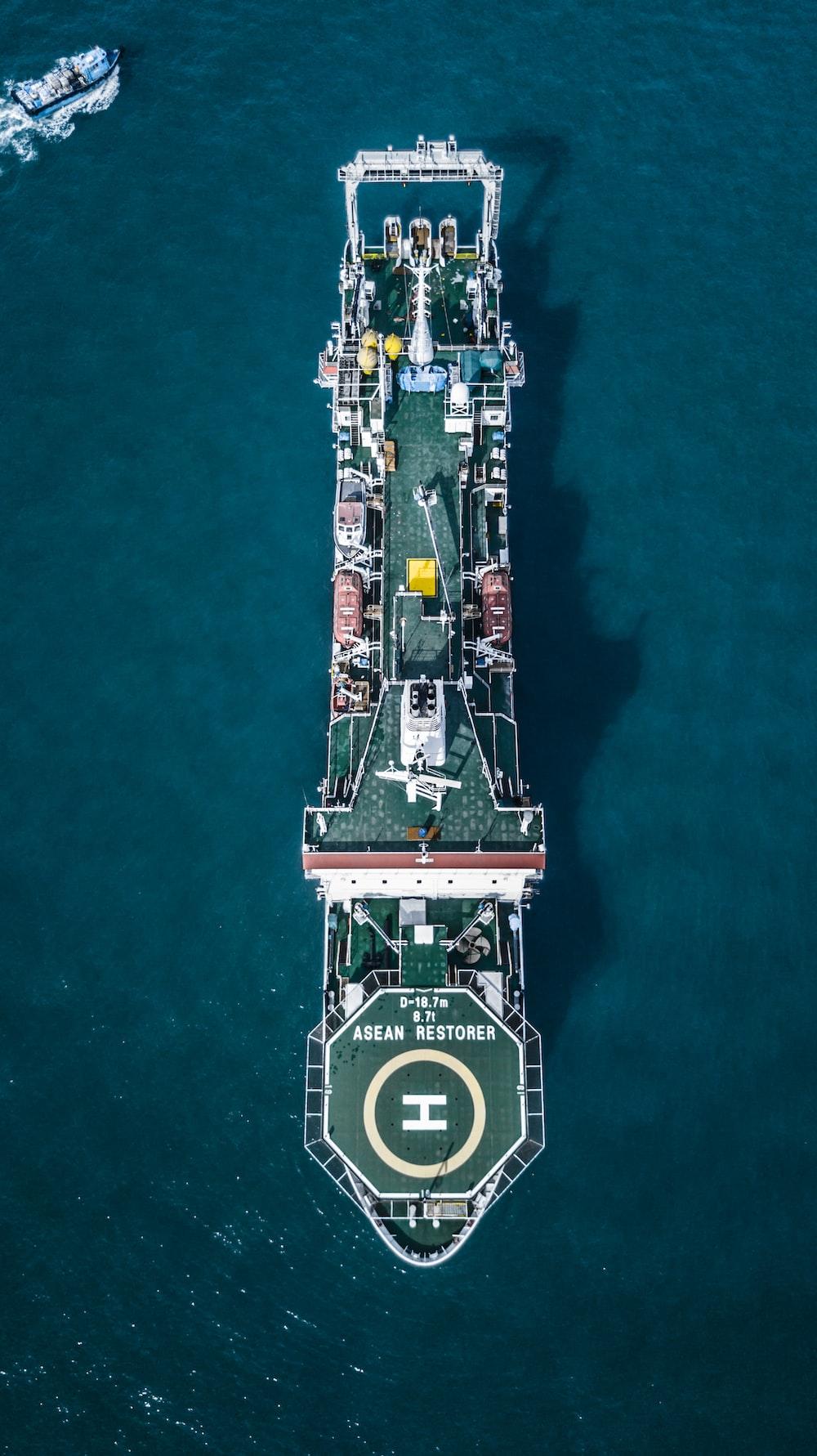high-angle photography of ship