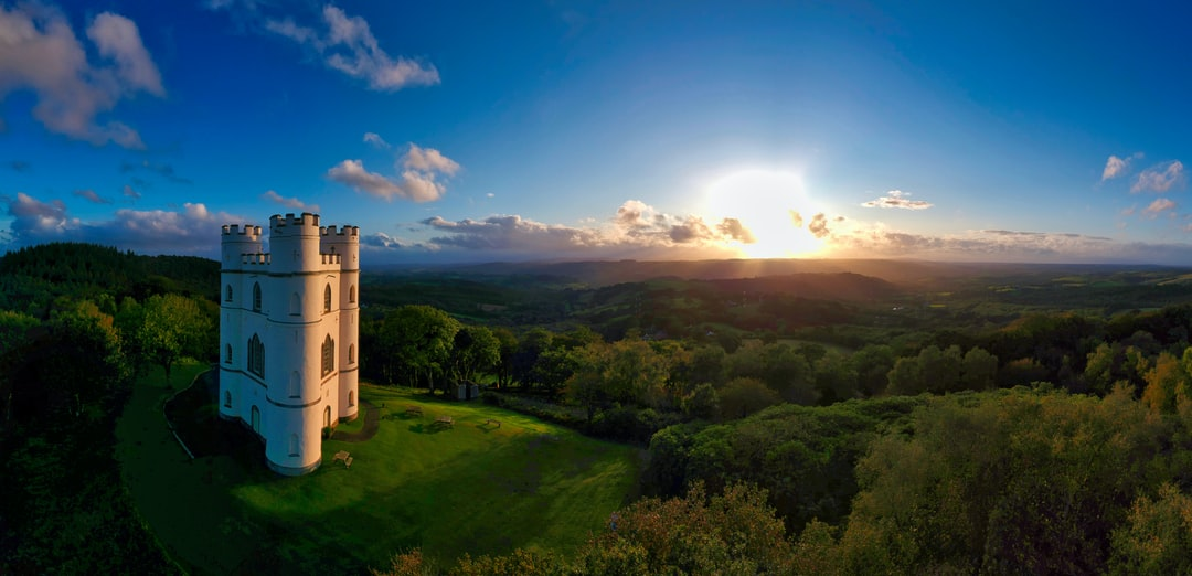 Autumn sunset between rain storms at Haldon Belvedere Lawrence Castle, Devon, UK