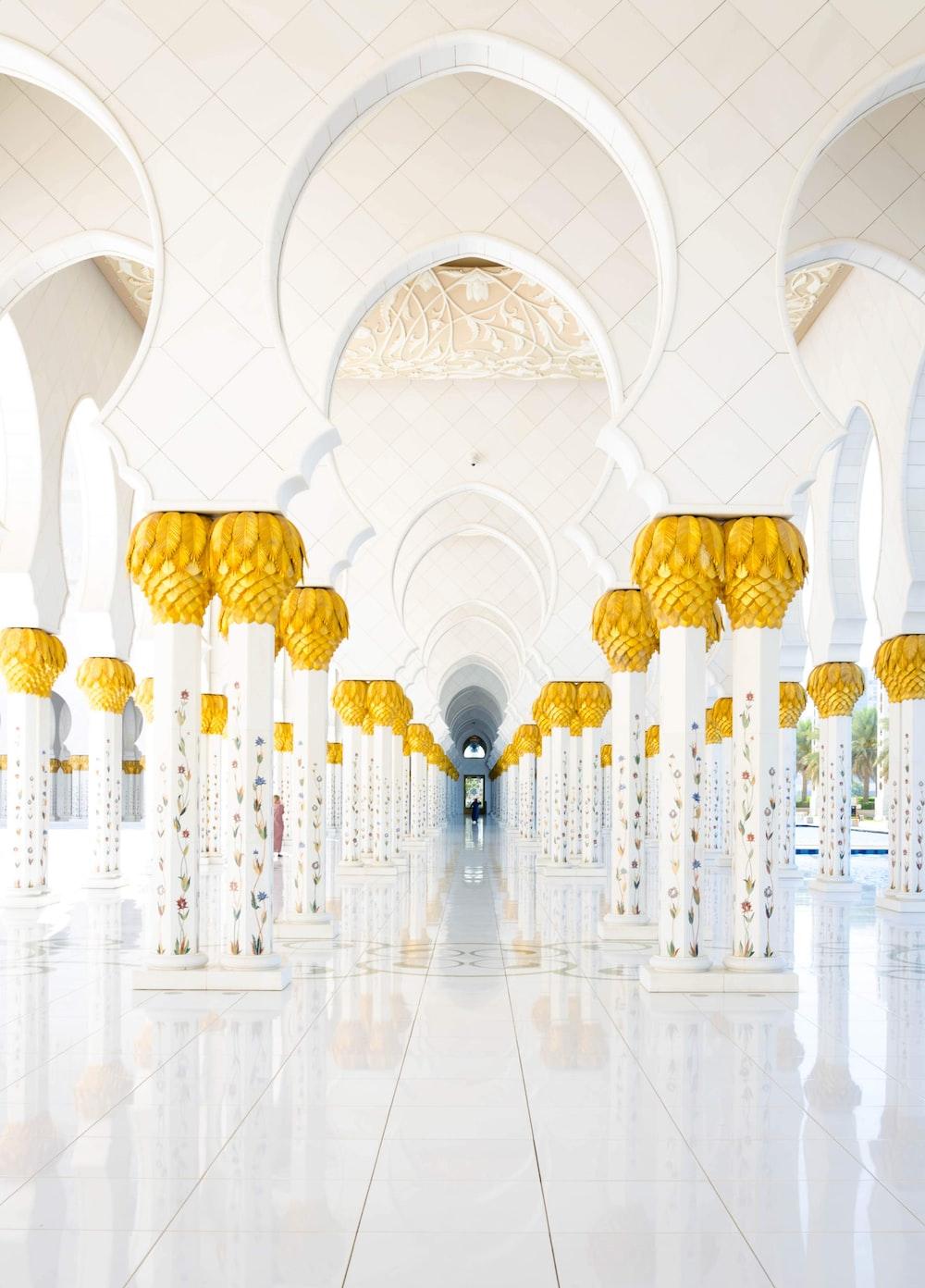 white and yellow hallway